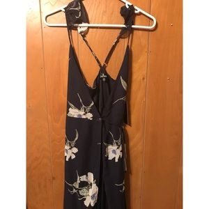 Lulu's Navy Floral Maxi Dress